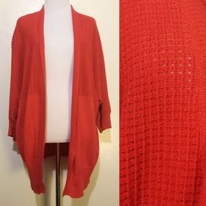 Bright Red 3/4 Sleeve Open Cardigan 2X